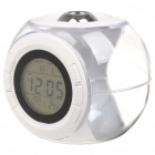 "1.6"" LCD Ball Style Projection Clock w/ Thermometer - White (3 x AAA)"