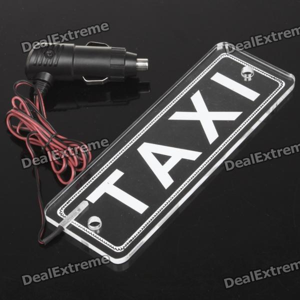 Red LED TAXI Board Car Cigarette Powered Decorative Light - Transparent White