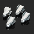 Aluminum Alloy Tire Valve Caps - Silver (4-Piece Pack)