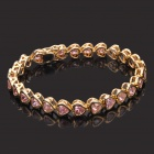 Stylish Gold Plating Copper Alloy Bracelet Wrist Band - Pink + Gold