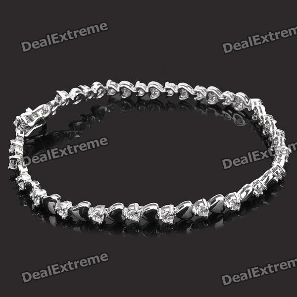 Stylish Platinum Plating Copper Alloy Bracelet Wrist Band - Silver