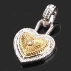 Elegant Love Heart Shaped Necklace Pendant - Silver + Gold