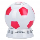 Mini Football Style MP3 Music Speaker Player with FM/SD Slot - Red + White
