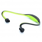Sports USB Rechargeable MP3 Player Headset w/ FM/TF Slot - Green
