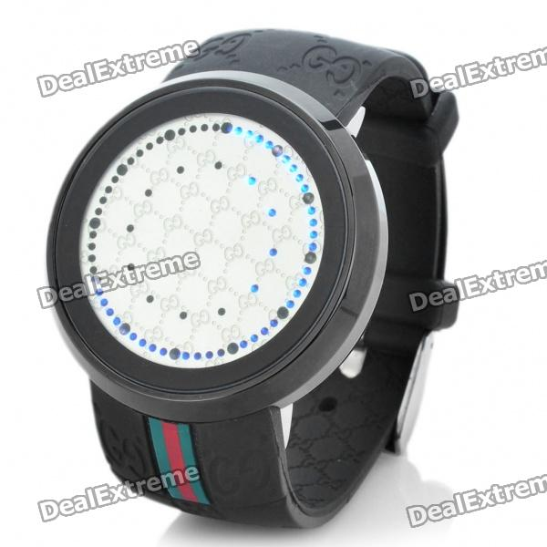Stylish 2-Color-Light 72-Led Touch Screen Wrist Watch - Black + Silver (1 x CR2032)