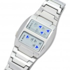 Stylish 14-LED Blue Light Alloy Bracelet Binary Wrist Watch - Silver (2 x CR2016)