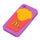 Creative French Fries Pattern Protective Soft Silicone Case for iPhone 4 - Purple + Yellow + Red