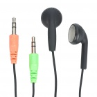 Designer's Earphone with Microphone - Black (Dual 3.5mm Jacks / 190CM-Cable)