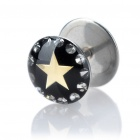 1.2mm 316L Surgical Steel Star Pattern Ear Bar Stud - Silver + Black