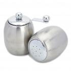 Unique Drum Shaped Salt/Pepper Shaker + Pepper Mill Grinder Set - Silver (Set of 2)