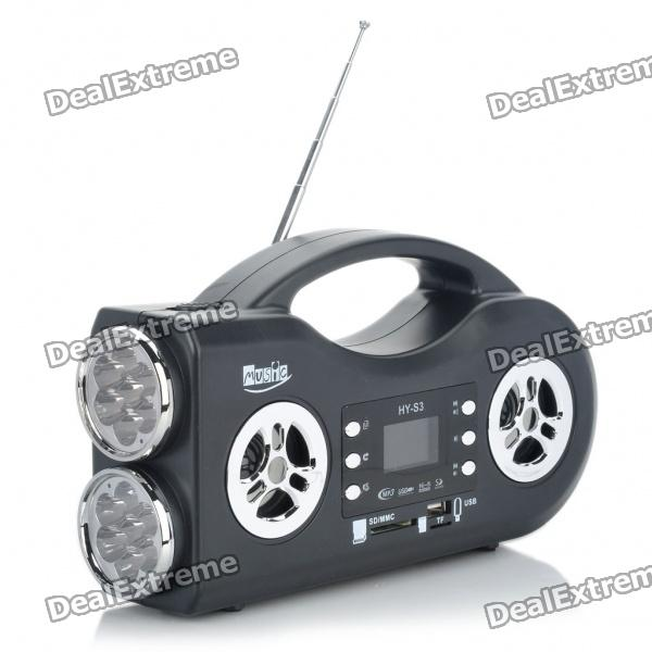 2-Mode 14-LED White Flashlight + 1.4 LCD Rechargeable MP3 Music Speaker w/ FM/USB/SD/TF - Black mp3 плеер other 32 2 2 lcd 1 3mp mp4 990181