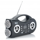 "2-Mode 14-LED White Flashlight + 1.4"" LCD Rechargeable MP3 Music Speaker w/ FM/USB/SD/TF - Black"