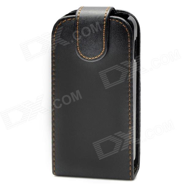 Protective Leather + ABS Plastic Case Pouch for Samsung Galaxy Ace S5830 - Black