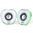 Green Apple Style USB MP3 Music Dual-Speaker (3.5W x 2)