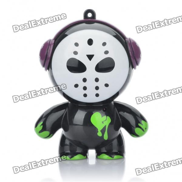 Cute Iron Surface Man Shaped USB Rechargeable MP3 Music Speaker - Black + White