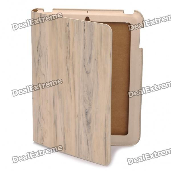 Fashion Wood Grain Pattern Protective Real Leather Case for iPad 2 - White