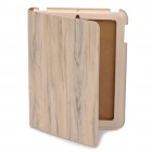 Fashion Holzmaserung Protective Real Leather Case für iPad 2 - White
