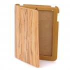 Stylish Wood Grain Pattern Protective Real Leather Case for Ipad 2 - Yellow
