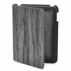 Stilvolle Holzmaserung Protective Real Leather Case für iPad 2 - Black