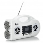 "2-Mode 14-LED White Flashlight + 1.4"" LCD Rechargeable MP3 Music Speaker w/ FM/USB/SD/TF - White"