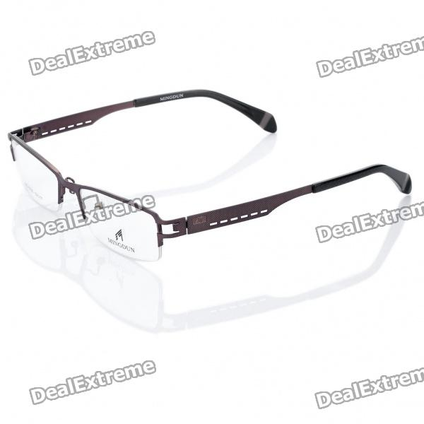 MINGDUN Fashion Resin Lens Stainless Steel Frame Glasses - Brown