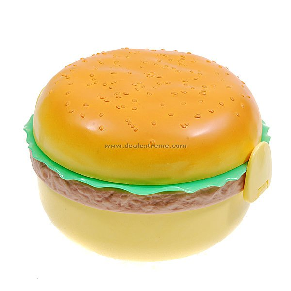 Cute Hamburger Lunch Box with Utensils SetContainer <br>Form  ColorYellowPacking List<br>