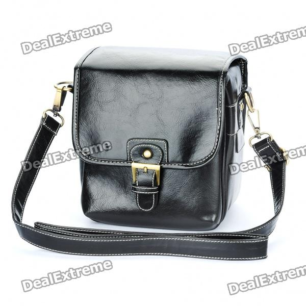 Vintage Protective PU Leather One Shoulder Camera Carrying Bag - Black