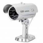 Realistic Dummy Surveillance Security Camera w/ Blinking Red LED - Silver (2xAAA)