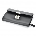 Fashion Cow Leather Handbag with Security Code - Black + Silver
