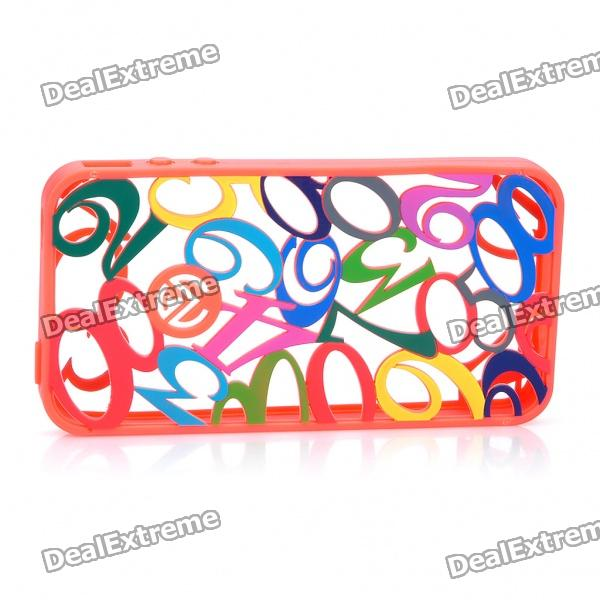 Creative Engraving Hollowed Numerals Protective Silicone Back Case for iPhone 4 - Orange