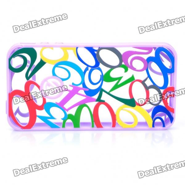 Creative Engraving Hollowed Numerals Protective Silicone Back Case for Iphone 4 - Purple