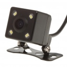 300KP Wired Waterproof Car Rearview Camera w/ 4 LED Night Vision (NTSC/PAL/DC 12~14V)