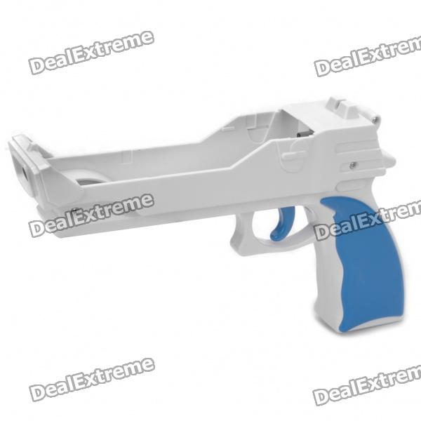 Plastic Motion Plus Function Gun for Wii Remote and Nunchuck - White + Blue