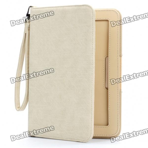 Protective 360 Degree Rotation Holder PU Leather Case w/ Strap for Samsung P7510 - Beige