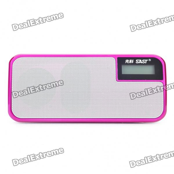 "SAST 1.2"" LCD USB Rechargeable MP3 Player Speaker w/ FM/USB/TF/3.5mm AUX - Deep Pink"
