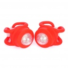 2-Mode Red LED Light Tie-On Bike Light Keychains - Red (Pair / 2 x CR2032)
