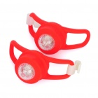 2-Mode RGB LED Light Tie-On Bike Light Keychains - Red (Pair / 2 x CR2032)