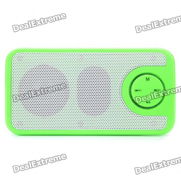 SAST Rechargeable MP3 Player Speaker w/ FM/TF/USB/3.5mm AUX - Green