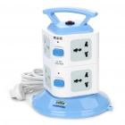 Double-Layer Vertical Stand Universal 8 Sockets Power Strip (AC 250V/3-Flat-Pin Plug/2M-Cable)