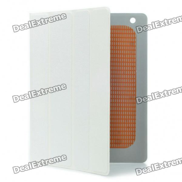 Stylish Protective PU Leather Case w/ Smart Cover for iPad 2 - White