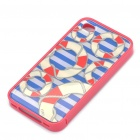 Protective Bumper Frame with Back Case for iPhone 4 - Blue + Red