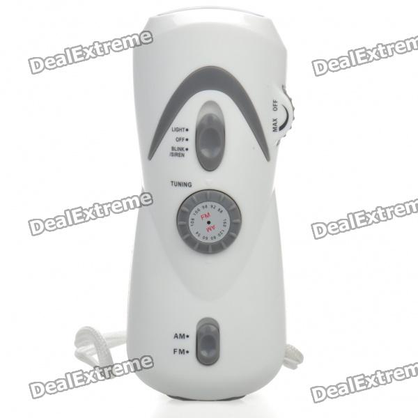 Multifunction Hand Cranked Dynamo 3-Led White Flashlight w/ Radio/Alarm/Phone Charging Adapters