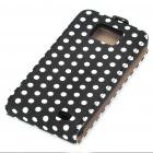Dots Pattern PC Frame Protective Leather Case for Samsung i9100 - Black + White