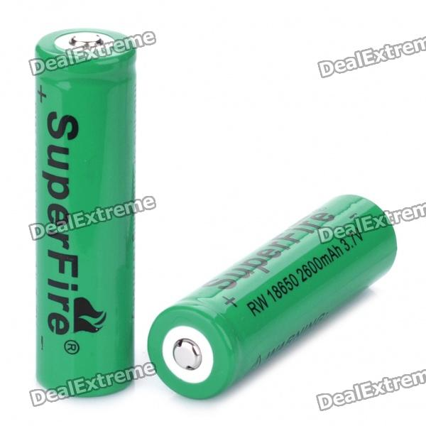 "SuperFire Rechargeable 3.7V ""2600mAh"" 18650 Batteries (Pair)"