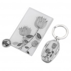 Ceramic Concept Stainless Steel Mirror + 4-in-1 Keychain Knife Set - White + Grey + Black