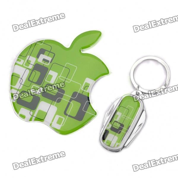 Apple Concept Stainless Steel Mirror + 4-in-1 Keychain Knife Set - Green + Silver