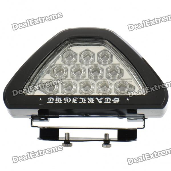 3W Triangle 12-LED Red Light Car Tail Brake Lamp (DC 12V) - DXOther Car LED Bulbs<br>Model: QS-16 - Color: Black - Plastic material housing - Built-in 12 LED emitters - Color BIN: Red - 3 lines triangle style - Flashing when brakes - 180 degrees rotatable - Easy installation - Working voltage: DC 12V - Power: 3W - Connector: 3 wires - Cable length: 193cm<br>