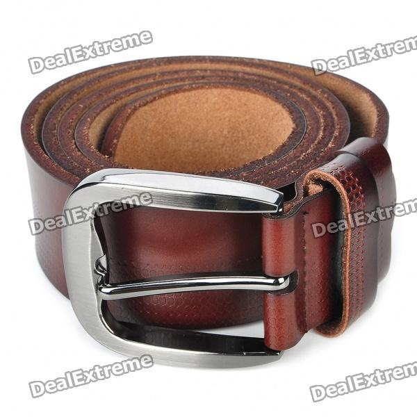 Stylish Cow Leather Men's Belt w/ Zinc Alloy Buckle - Coffee