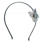 Beautiful CrystalHair Band with Butterfly Style Decoration - Black