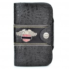 Designer PU Leather Wallet - Black + Sliver Grau